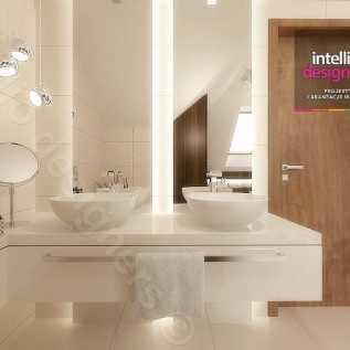łazienka aranżacje poddasze -Podświetlenie wanny, Oświetlenie fabbian, łazienka ze skosami, płytki ecru, płytki MAXFLIZ