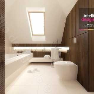 łazienka poddasze -Podświetlenie wanny, Oświetlenie fabbian, łazienka ze skosami, płytki ecru, płytki MAXFLIZ
