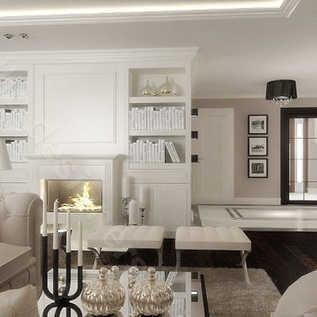 Najpiękniejsze aranżacje wnętrz salon z kominkiem Salon z biblioteką w luksusowej rezydencji pod Rzeszowem. Salon urządzony w stylu amerykańskim