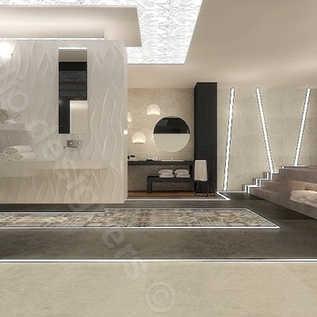 Projekt koncepcyjny salonu wyposażenia łazienek, podłoga podświetlona led, strefa spa