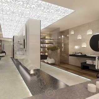 Architektura wnętrz komercyjnych - Projekt Prestige Room Kraków widok na strefę, podświetlany sufit, projekty łazienek - inspiracje.
