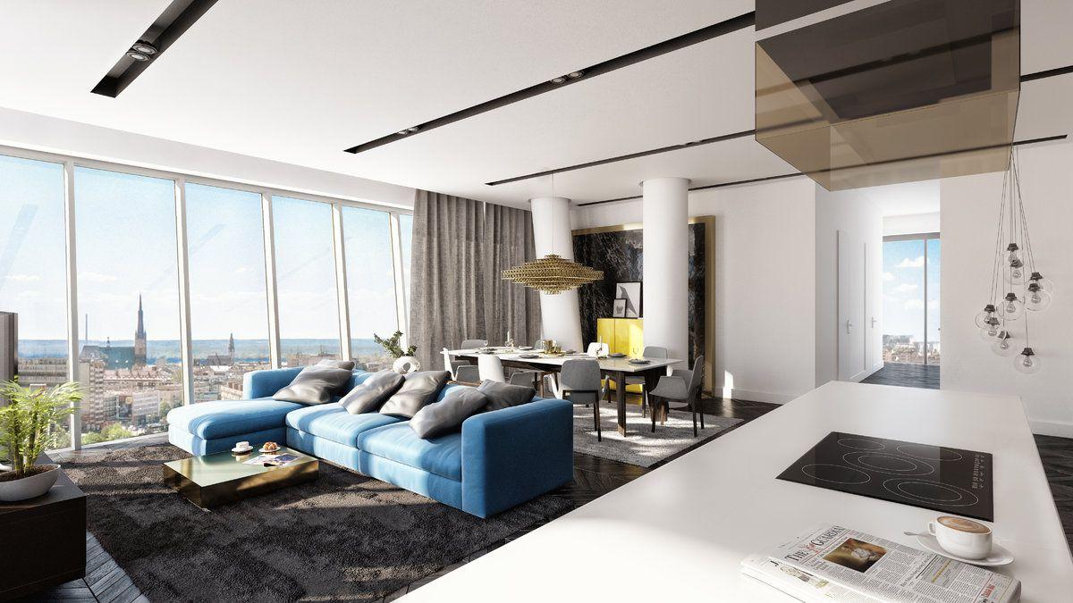 Przestronne apartamenty i penthouse będą umiejscowione na najwyższych piętrach wieżowca