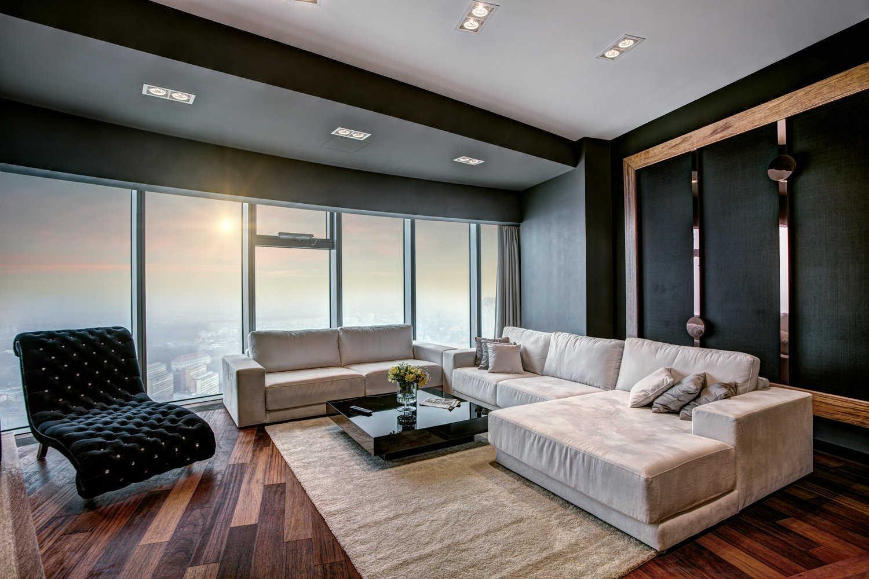 Projekt salonu w widokowym apartamencie