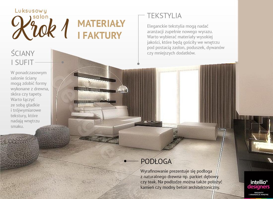 Jak zaaranżować luksusowy salon. Jak wybrać tekstylia, materiały i faktury.