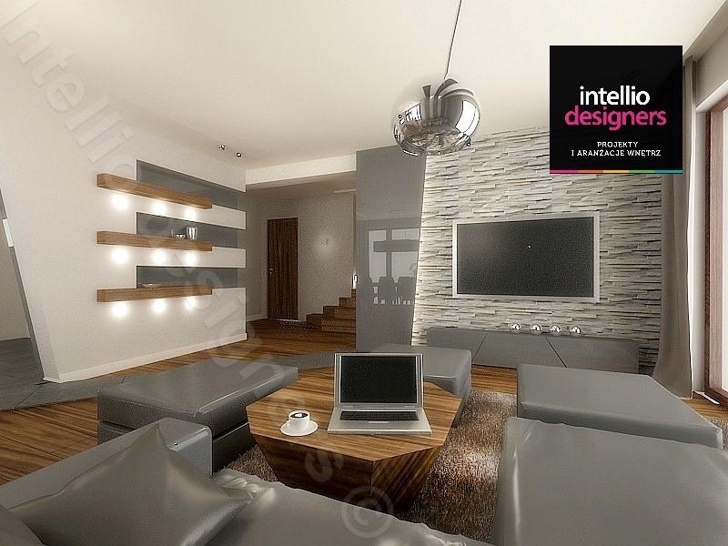 aranżacje wnętrz salonu, projekty Intellio designers