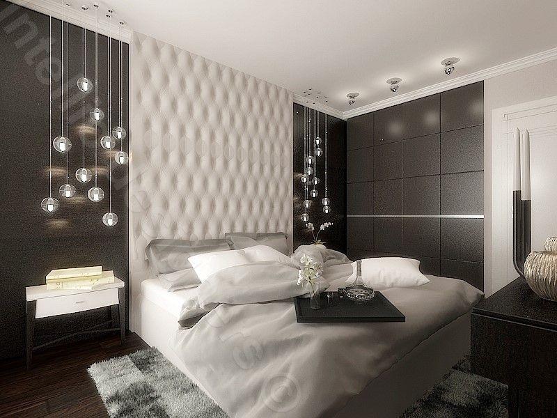 Projekt sypialni w apartamencie w Krakowie - beże i brązy