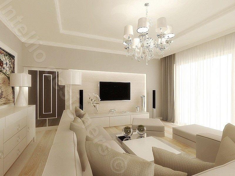 Wybór lampy do salonu, jasny komfortowy salon z lampą w centralnym miejscu