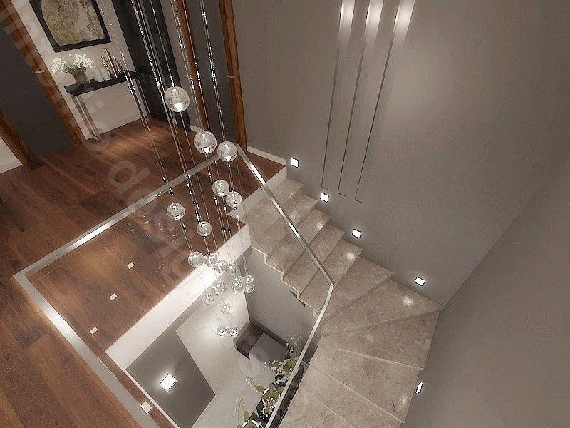 Klatka schodowa w domu oświetlenie projekt schodów ekskluzywne materiały