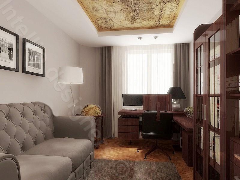 Gabinet biuro w domu lub mieszkaniu. Komfortowa kancelaria domowa.