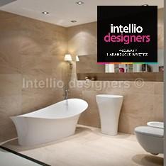 aranżacje i dekoracje łazienek - zdjęcia - wanna wolnostojąca umywalka wolnostojąca lustro wpuszczane w płytki