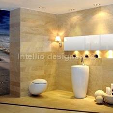 aranżacje i dekoracje łazienek - zdjęcia - umywalka wolnostojąca laufen alessi one WC wiszące laufen, nadruk na szkle aranżacje łazienki