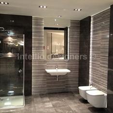 aranżacje i dekoracje łazienek - zdjęcia - deszczownica bateria podtynkowa bidet lustro podświetlane LED