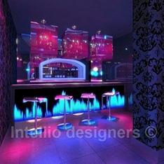 aranżacja i projekt 3D sali klubu muzycznego, bar DJ