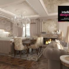 Kuchnia z salonem Projekt apartamentu w Krakowie, apartament prezydenta