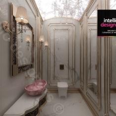 Projekt apartamentu w Krakowie stylizowana łazienka