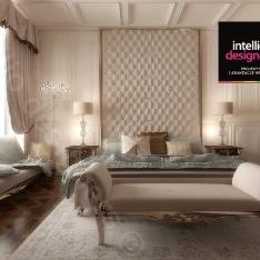 Sypialnia z garderobą - projekt apartamentu w Krakowie