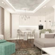 Francuskie mieszkanie, styl nowoczesny w kuchni