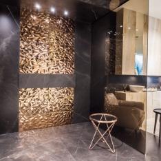 Złota łazienka Max-Fliz Intellio designers - aranżacje luksusowych pokoi kąpielowych